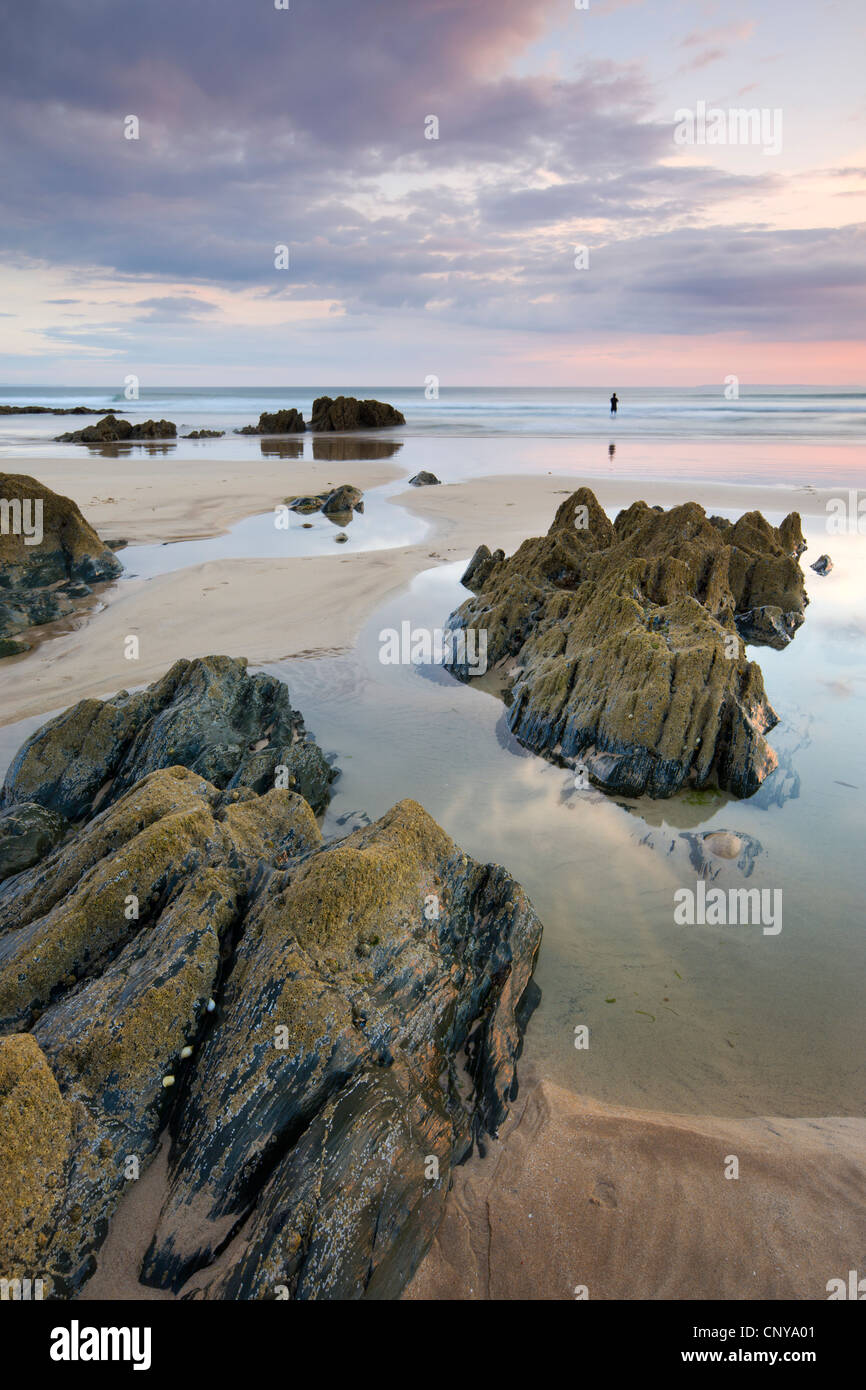 Low tide at Combesgate Beach at Woolacombe, Devon, England. Summer (June) 2010. - Stock Image