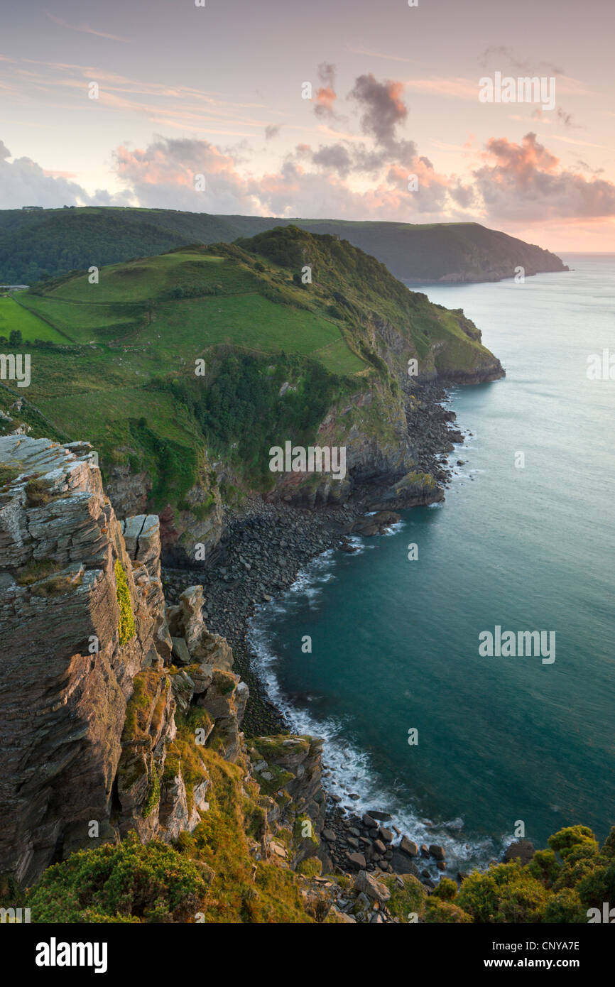 Wringcliff Bay, Duty Point and Highveer Point from Castle Rock, Valley of Rocks, Exmoor National Park, Devon, England. - Stock Image
