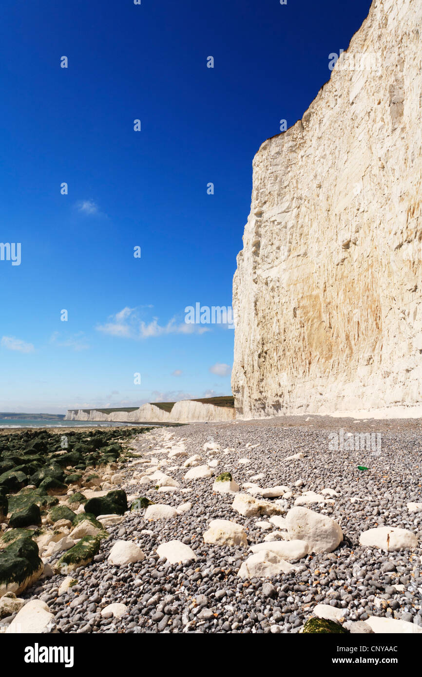 Chalk cliffs at Beachy Head and the Seven Sisters. - Stock Image