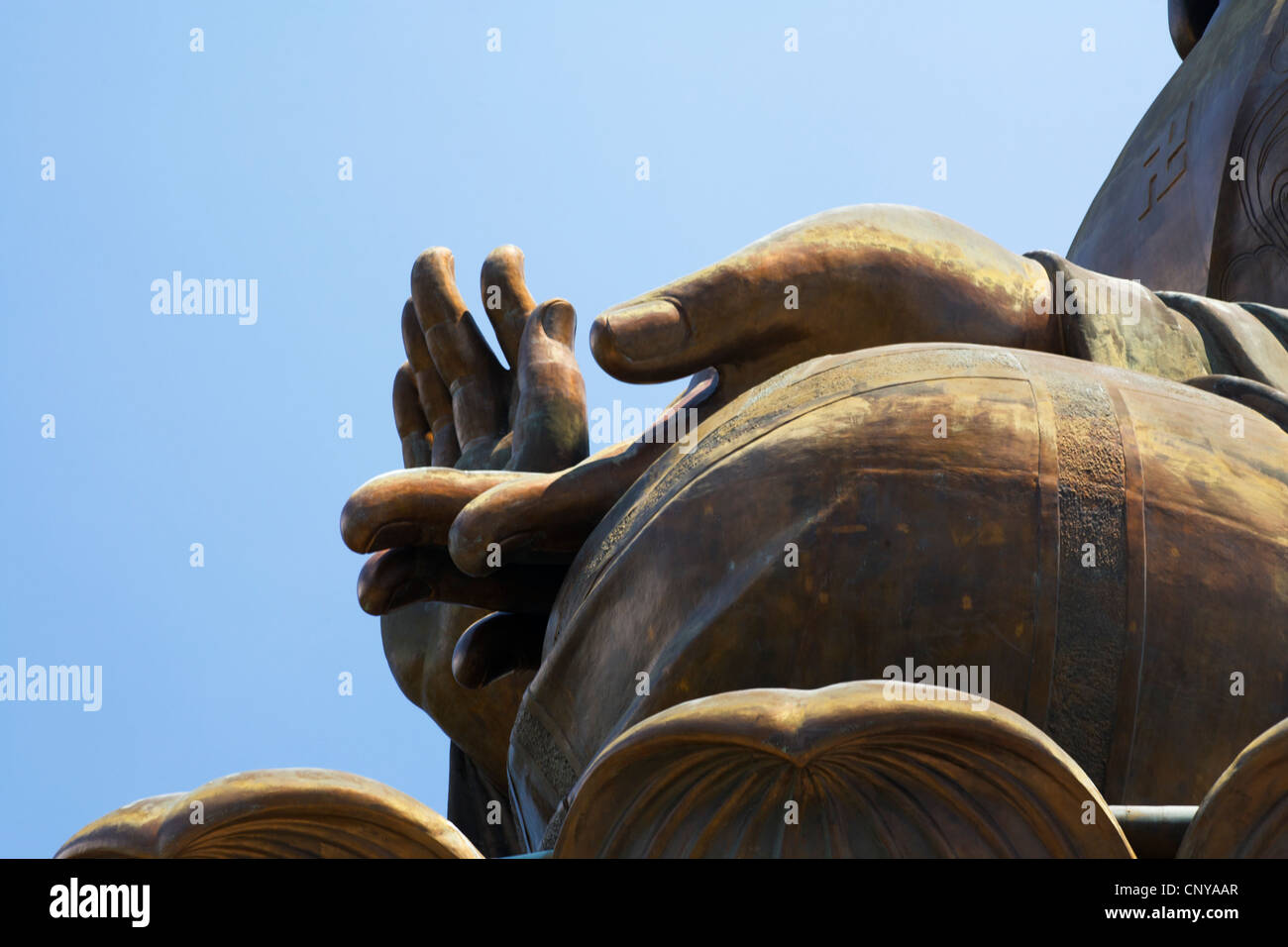 Buddha's hands, the Giant Buddha, Lantau Island, Hong Kong. - Stock Image