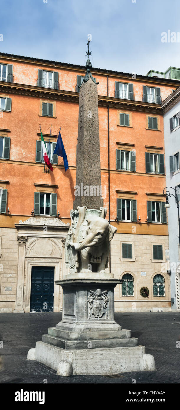 Obelisk of Santa Maria sopra Minerva by Bernini in Rome, Italy Stock Photo