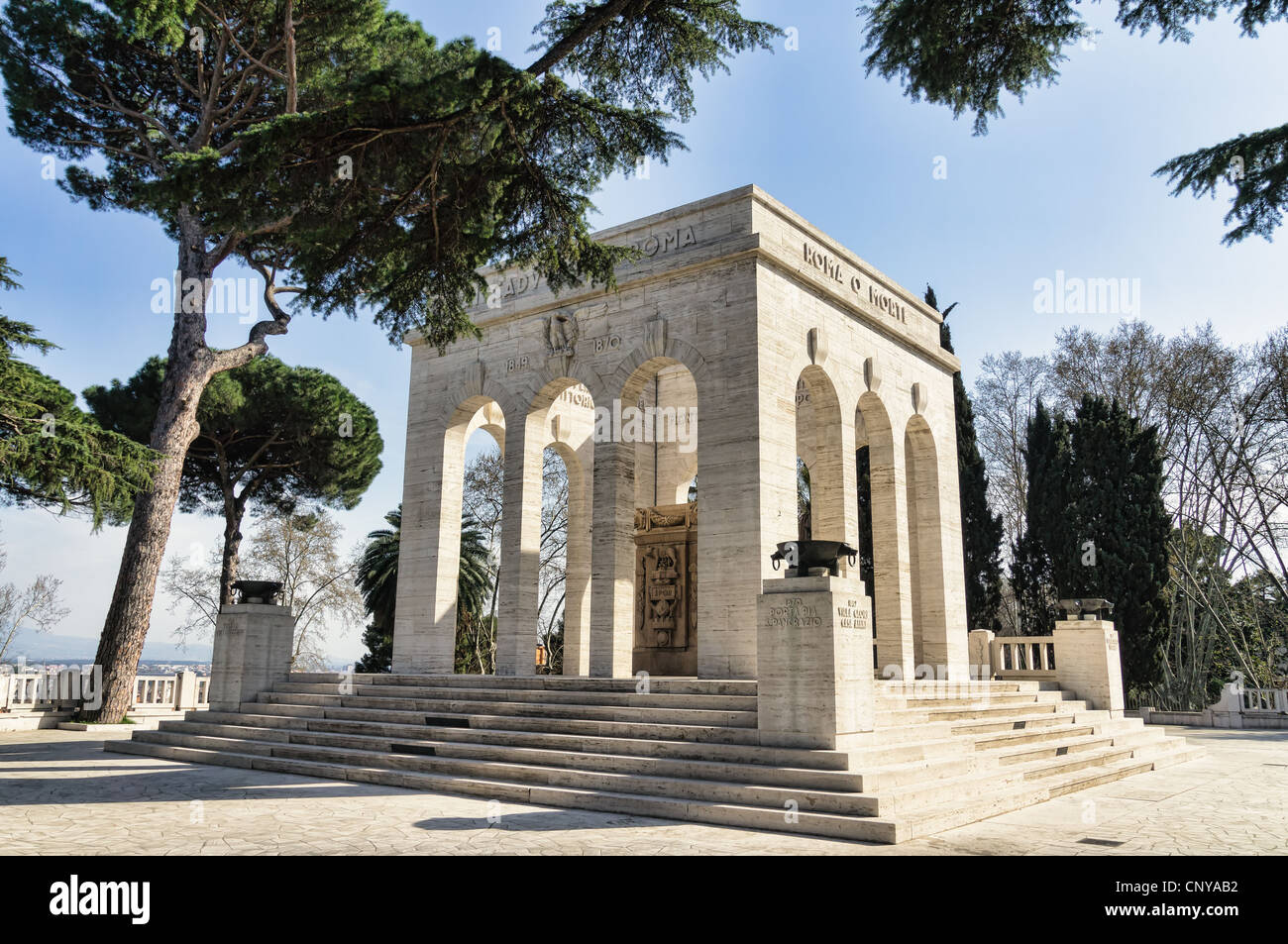 Ossuary of the fallen during the defence of Rome , Italy - Stock Image