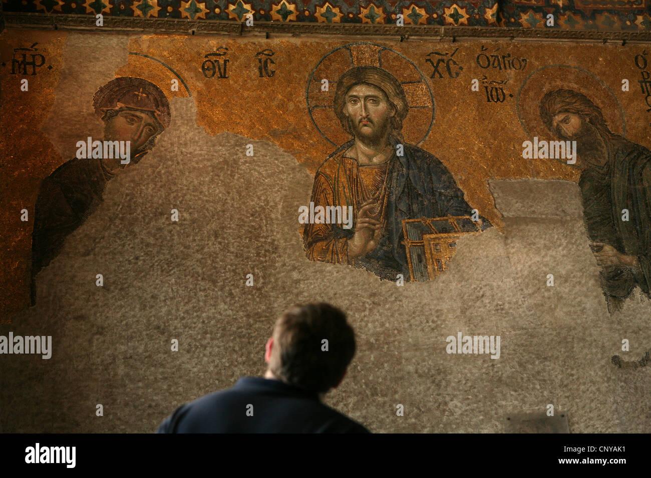 Byzantine Deesis mosaic on the upper galleries of Hagia Sophia in Istanbul, Turkey. Stock Photo