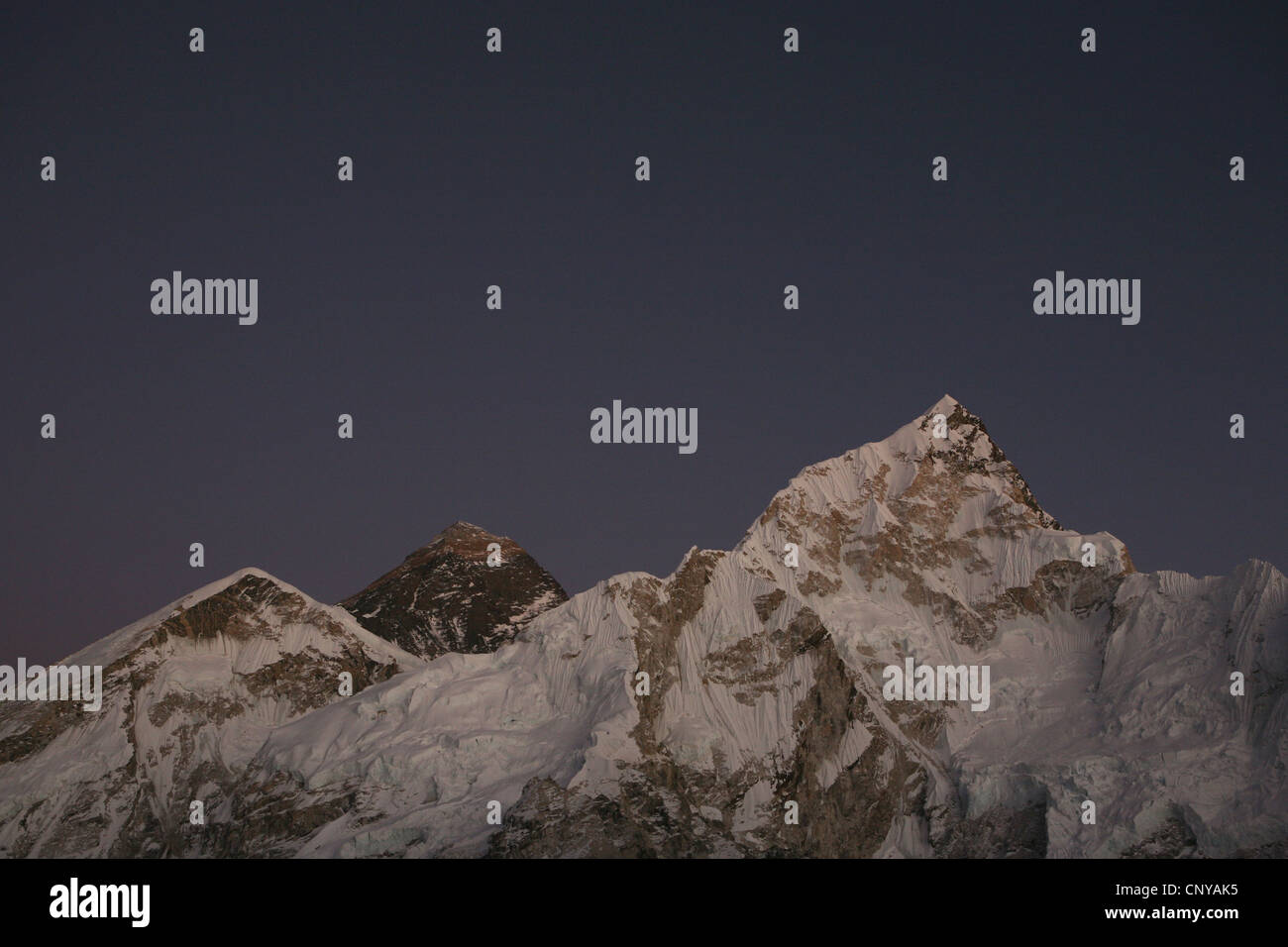 Sunset over Mount Everest (8,848 m) in Khumbu region in the Himalayas, Nepal. - Stock Image