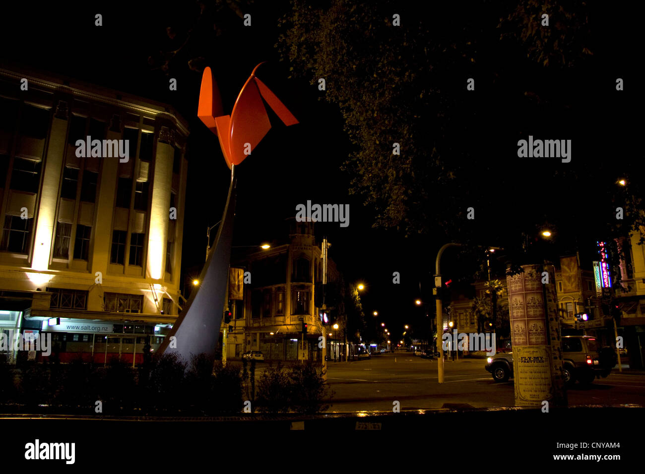 Night view of Phil Price's Nucleus sculpture, Christchurch. - Stock Image