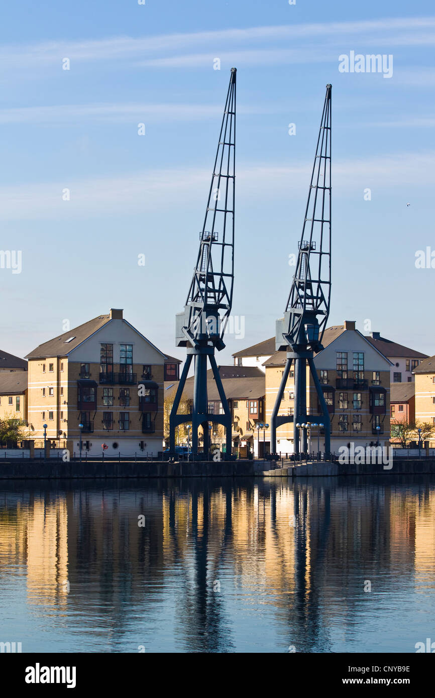 Royal Victoria Dock, Millennium Mill, Waterfront , River Thames, London, United Kingdom - Stock Image