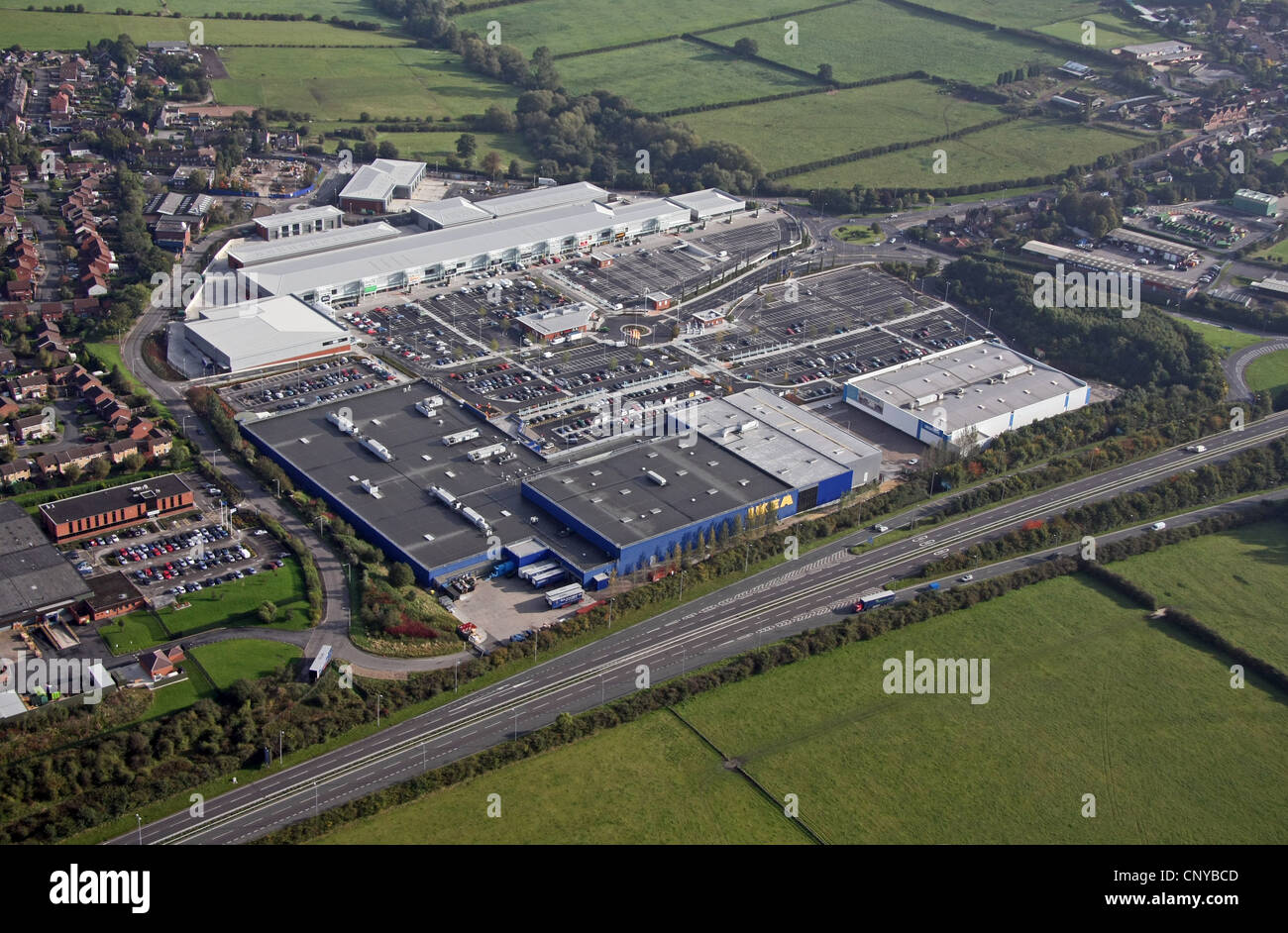 Aerial view of Giltbrook retail park - Stock Image