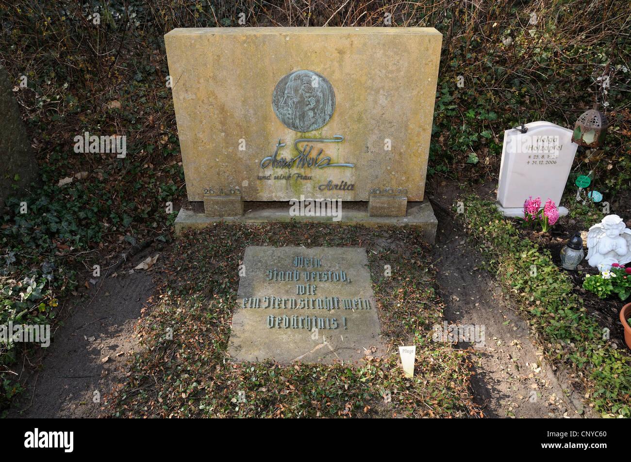 Grave of Arno Holz, 1863 - 1929, German poet of naturalism and impressionism, Waldfriedhof Heerstrasse, Berlin, - Stock Image