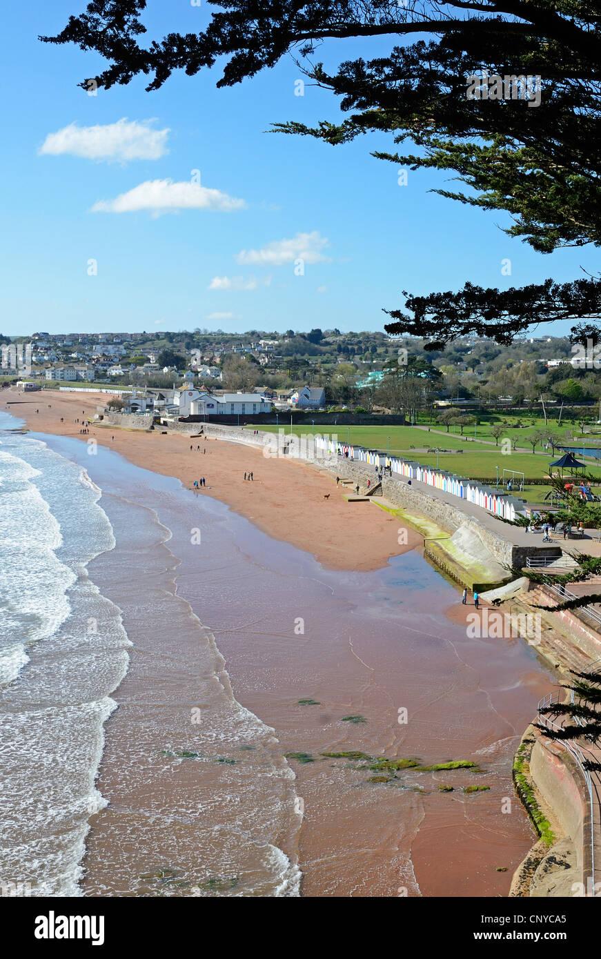 The beach at Goodrington sands near Paignton in Devon, UK - Stock Image