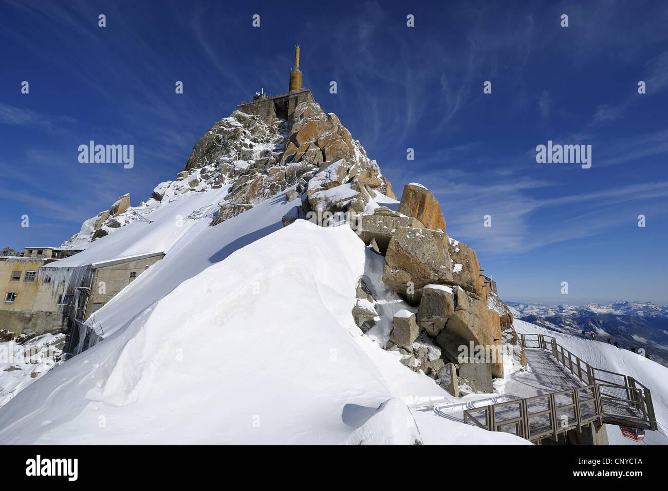 view to Aiguille du Midi, France, Mont Blanc - Stock Image