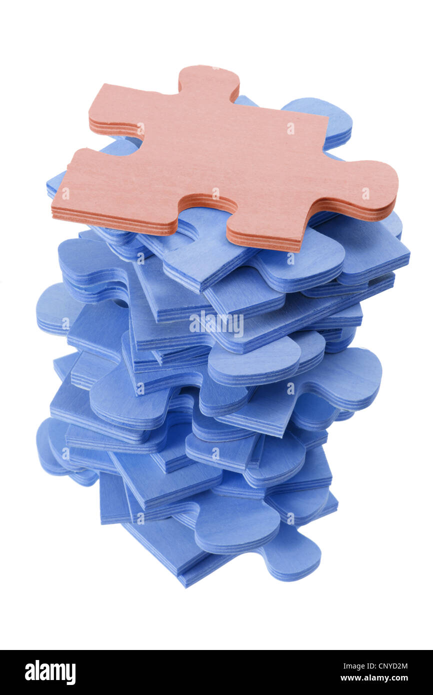 Stack of Jigsaw Puzzle Pieces - Stock Image