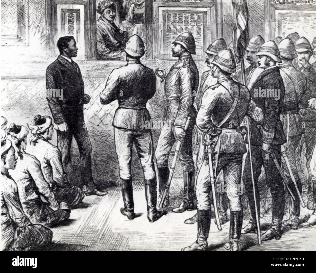 BURMA English officers with King Thebaw of Upper Burma at window when Britain annexed his territory  in 1885. Translator - Stock Image