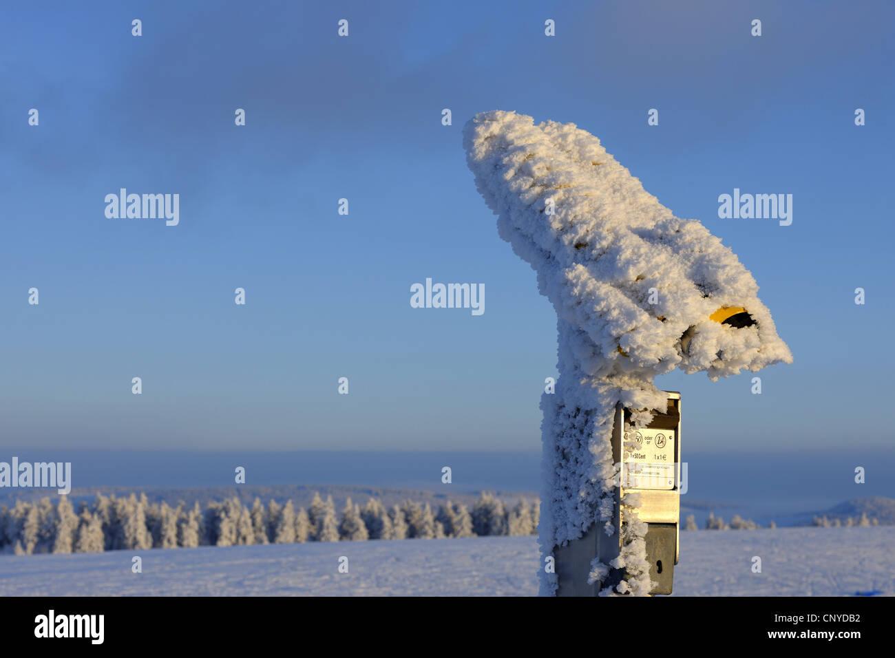 hoar frost on coin telescopes, Germany, Hesse, Rhoen, Wasserkuppe - Stock Image