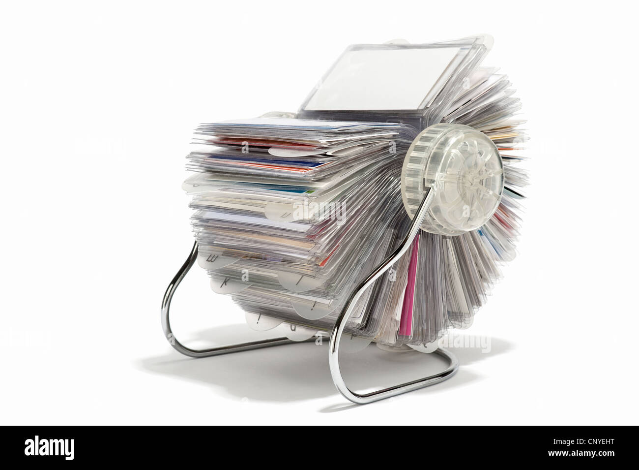 A rotary business card holder - Stock Image