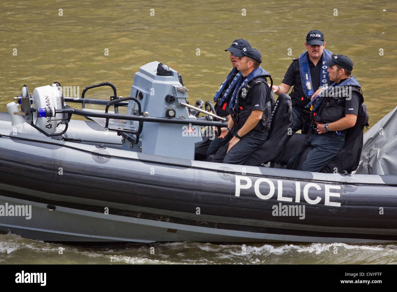 A police launch on patrol during the Bristol Harbour Festival 2011 - Stock Image