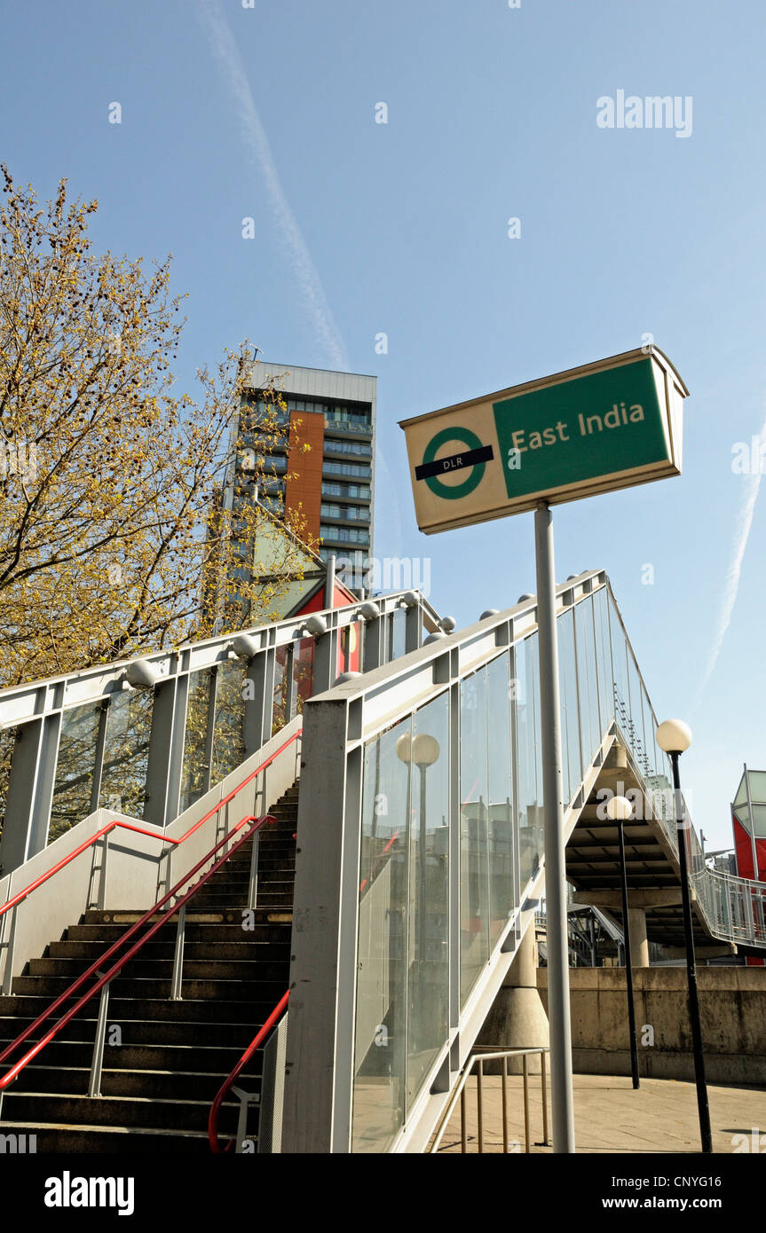 DLR East India Station sign Leamouth Tower Hamlets East London England UK - Stock Image