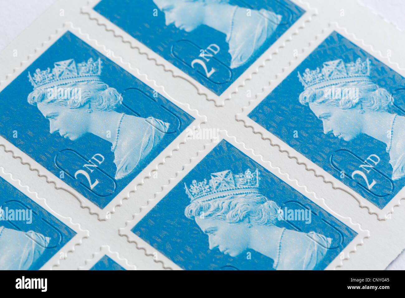 Royal Mail second class postage stamps. England, UK, Britain. - Stock Image