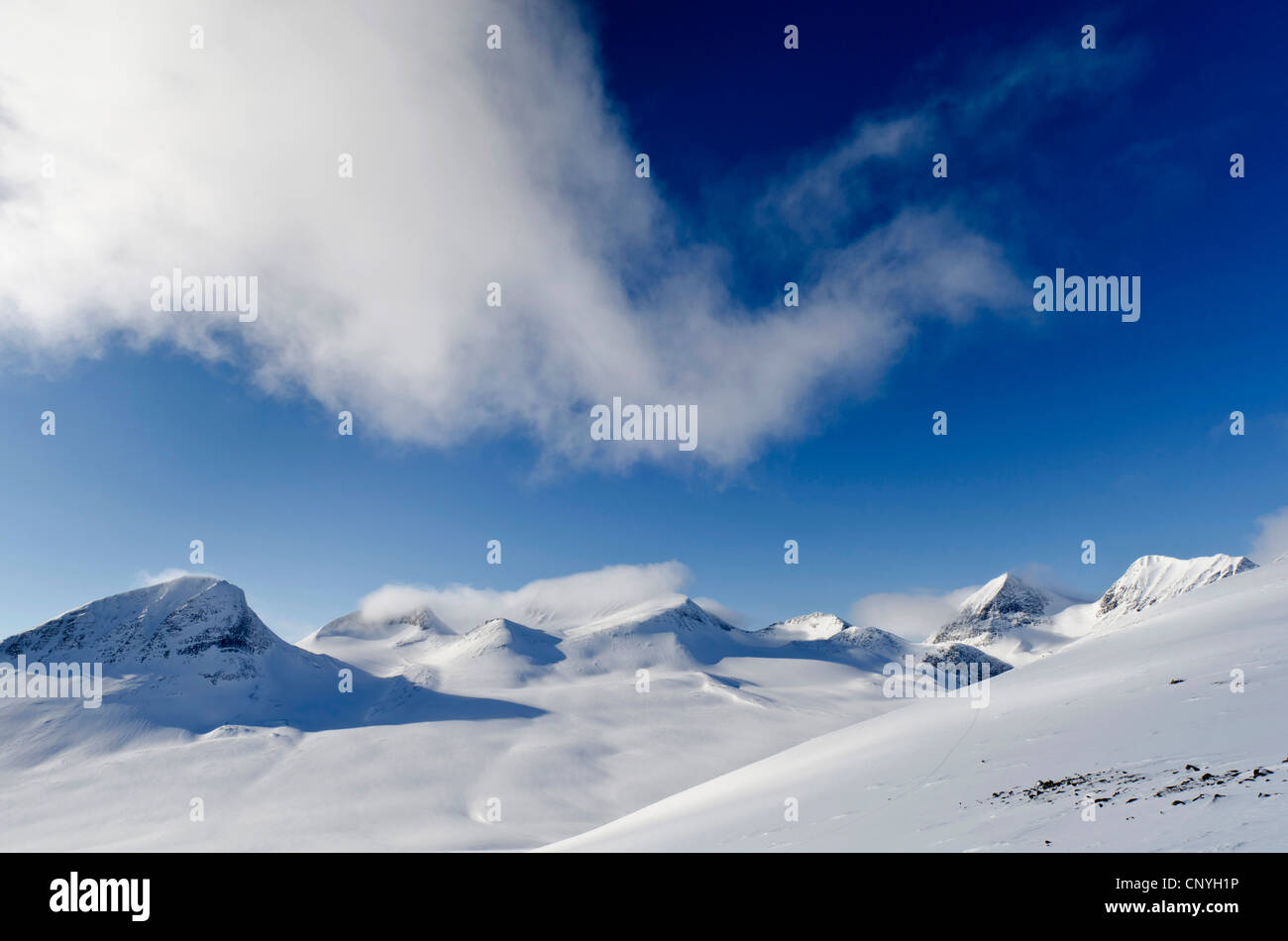 Tjaektja Joka mountain range and Stuor Reaiddavaggi, Kebnekaise Fell, Sweden, Lapland, Norrbotten - Stock Image
