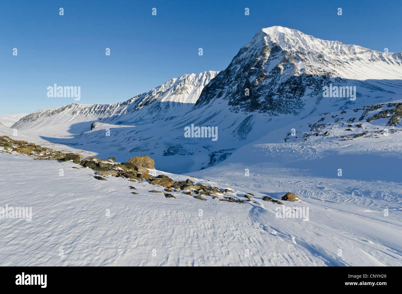 valley Unna Reaiddavaggi of Kebnekaise Fell, Sweden, Lapland, Norrbotten - Stock Image