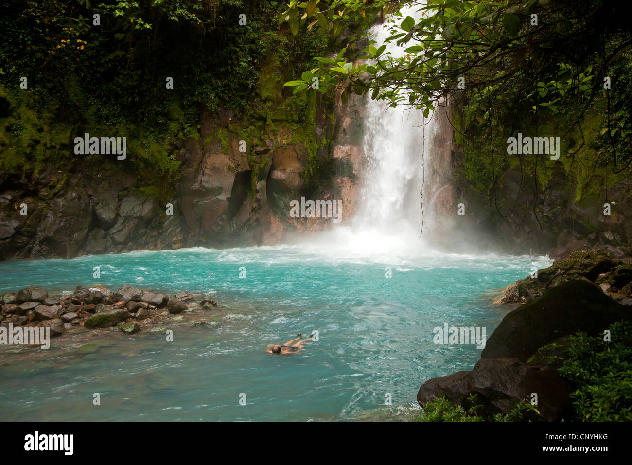tourist swimming at the Waterfall with the blue waters of the Rio Celeste in VolcanTenorio National Park, Costa - Stock Image