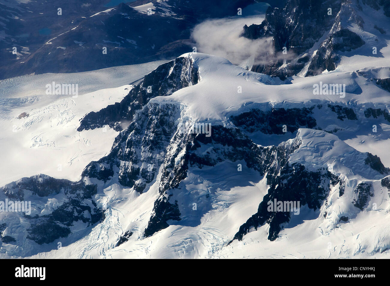 Aerial view snowcapped mountains Andes Range Patagonia Chile - Stock Image