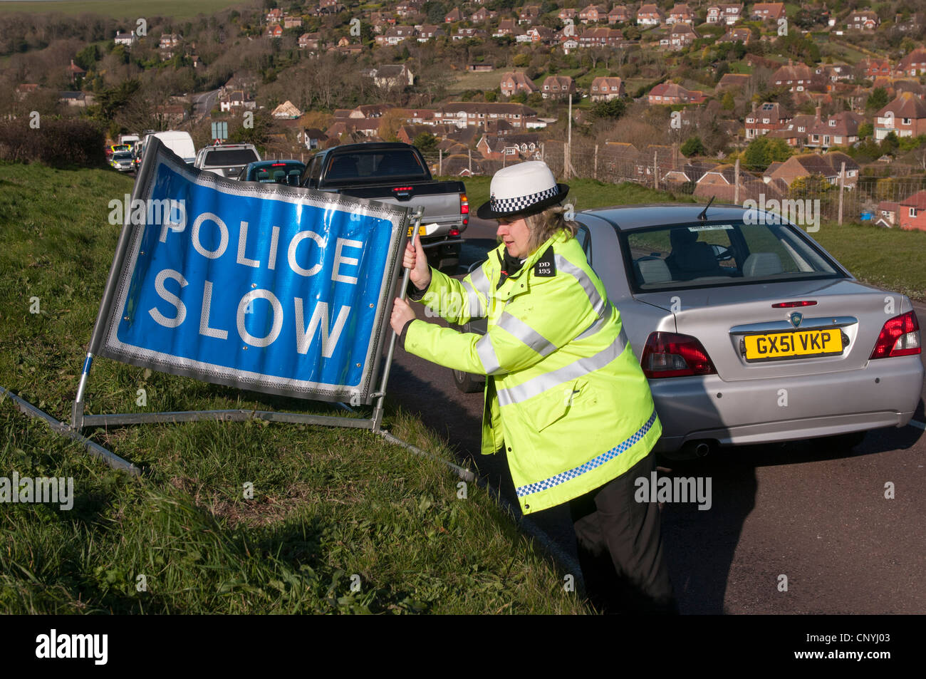 Traffic police officers operating a speed trap Stock Photo