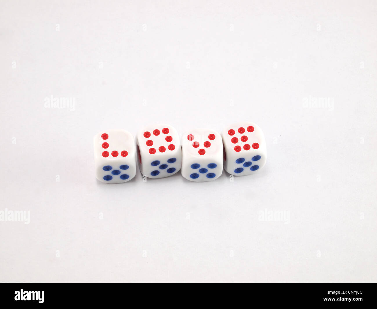 Ideas in the media about the love dice - Stock Image