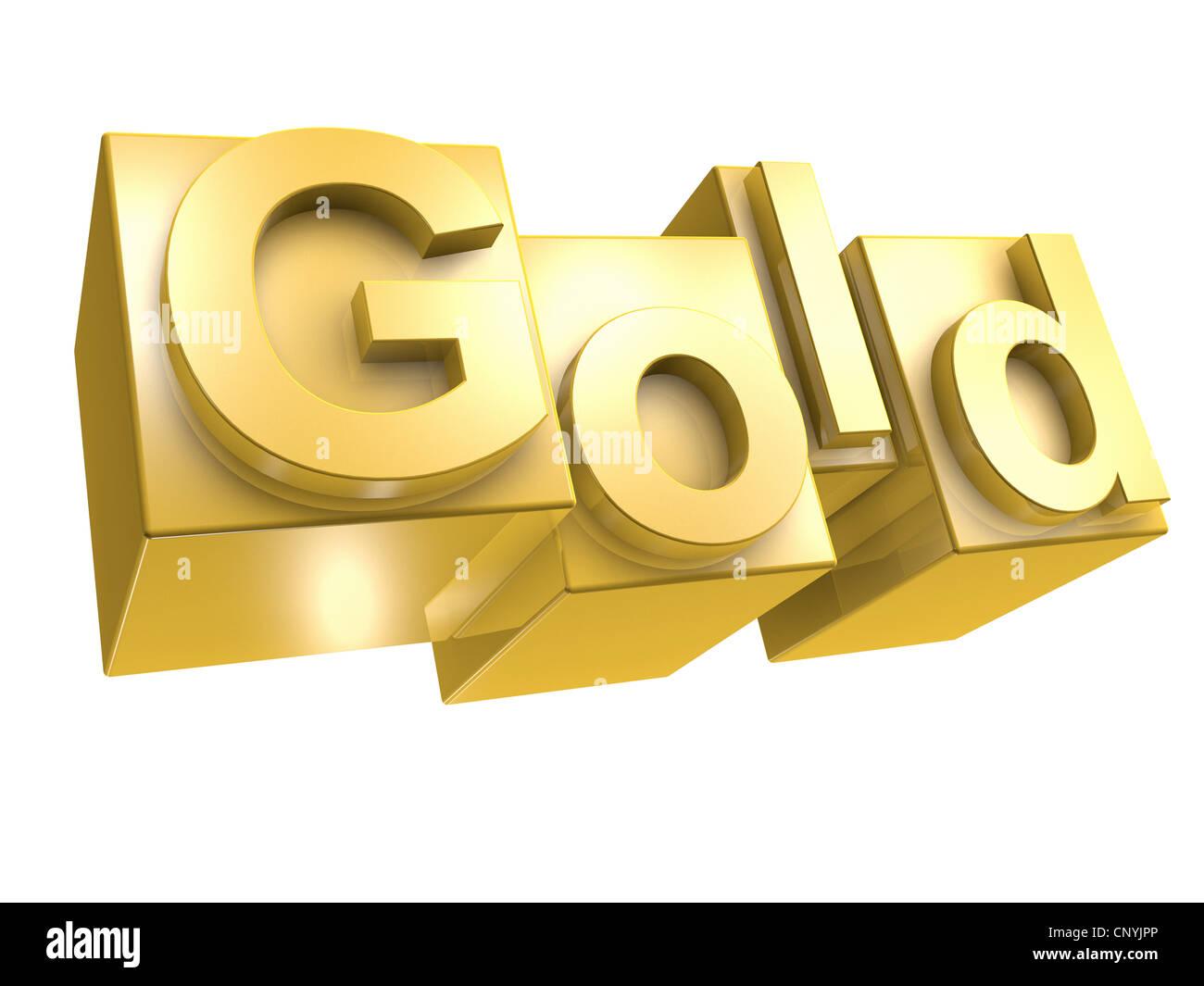 The word GOLD in golden 3D Letters on white background - Das Wort GOLD aus 3D Buchstaben gesetzt Stock Photo