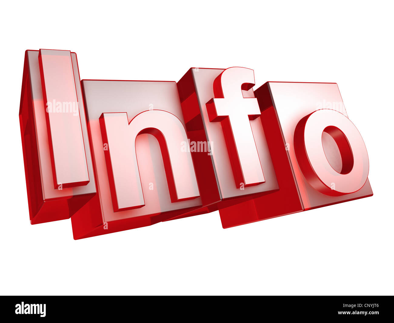 The word INFO in 3D Letters on white background - Das Wort INFO aus 3D Buchstaben gesetzt, freigestellt auf weißem - Stock Image