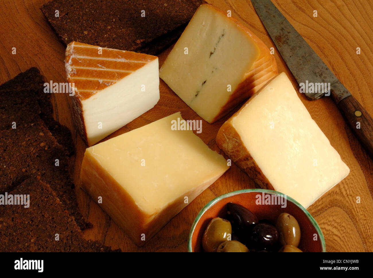 A selection of west country cheeses from the west of England UK - Stock Image
