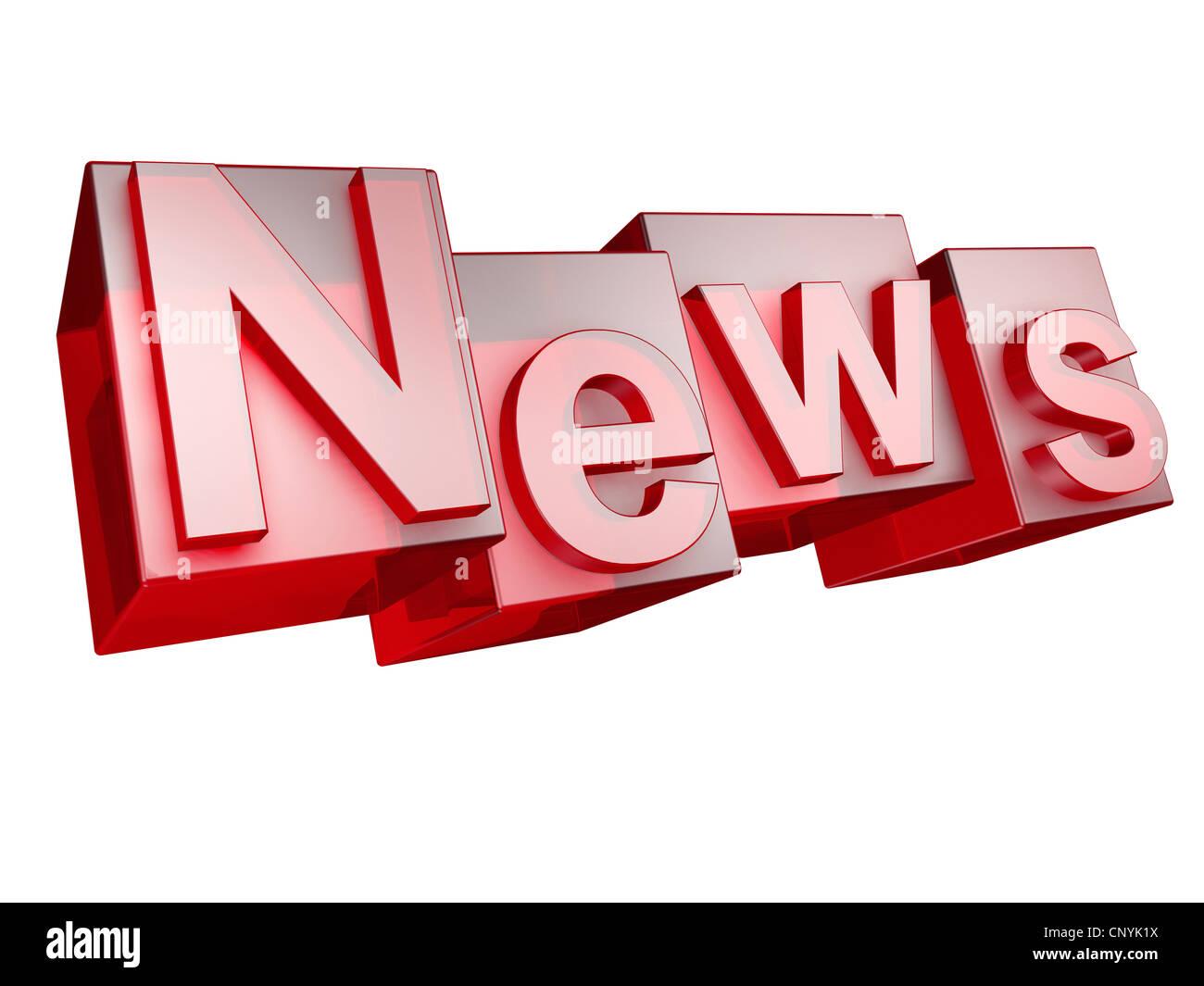 The word NEWS in 3D Letters on white background - Das Wort NEWS aus 3D Buchstaben gesetzt, freigestellt auf weißem - Stock Image