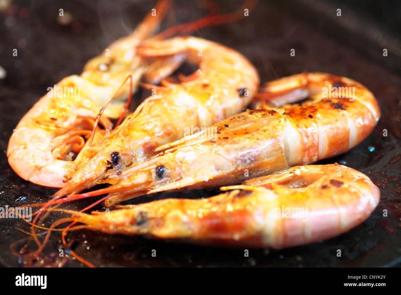 seafood, food, prawn, crustacean, snack, cuisine, orange, fried, prepared, ingredient, plate, gourmet, delicious, - Stock Image