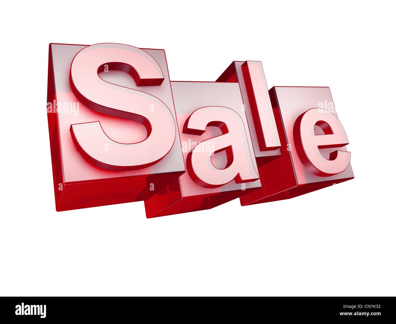 The word SALE in 3D Letters on white background - Das Wort SALE aus 3D Buchstaben gesetzt, freigestellt auf weißem - Stock Image