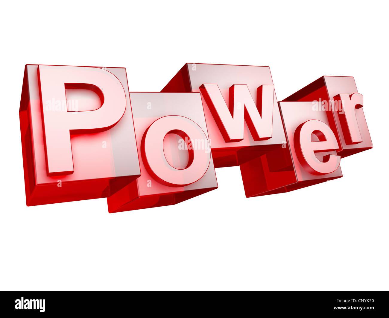 The word POWER in 3D Letters on white background - Das Wort POWER aus 3D Buchstaben gesetzt, freigestellt auf weißem - Stock Image