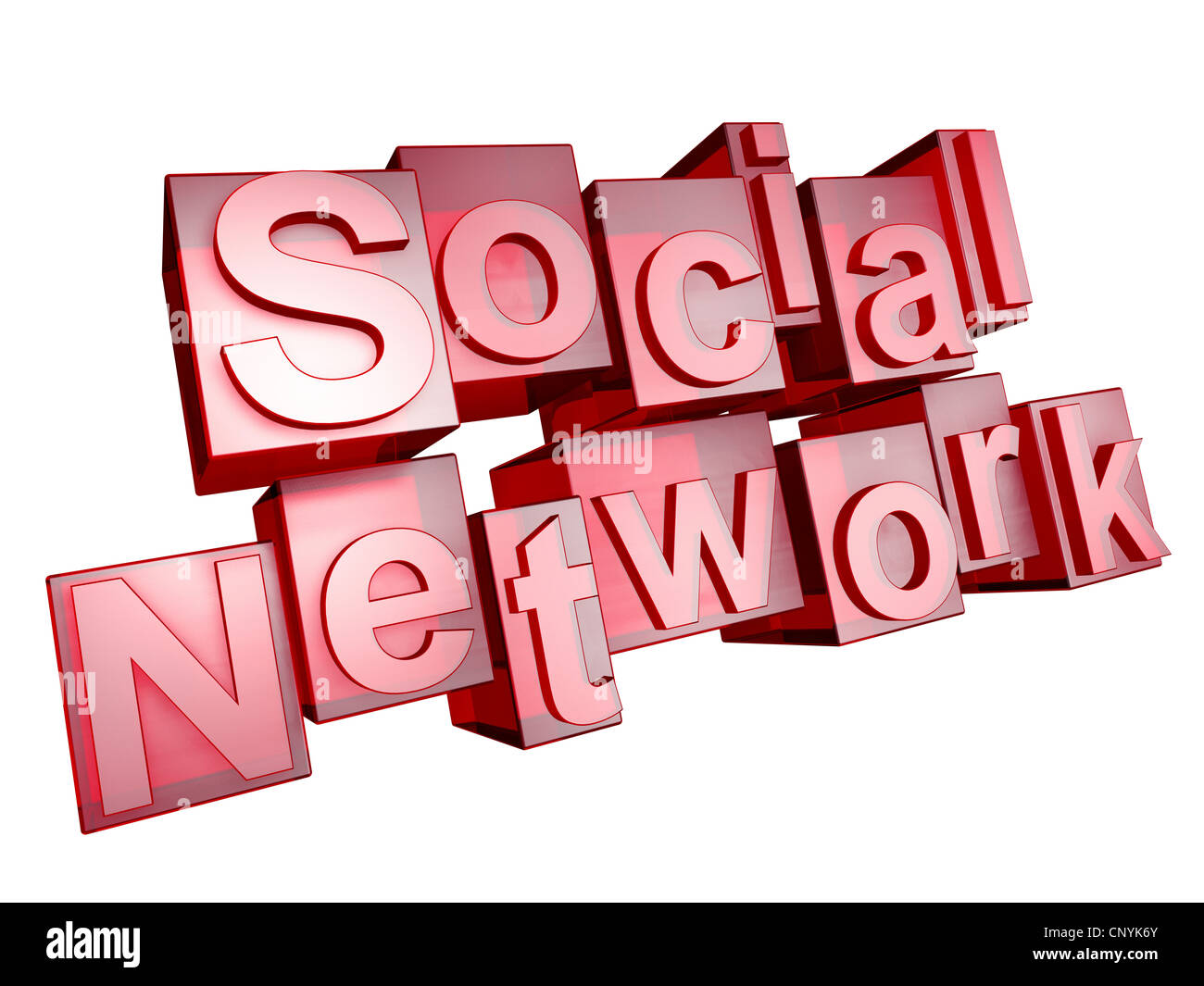 The word 'Social Network' in 3D letters on white background - Stock Image