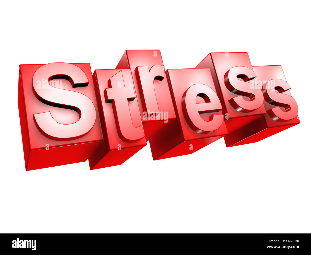 The word 'Stress' in 3D letters on white background - Stock Image