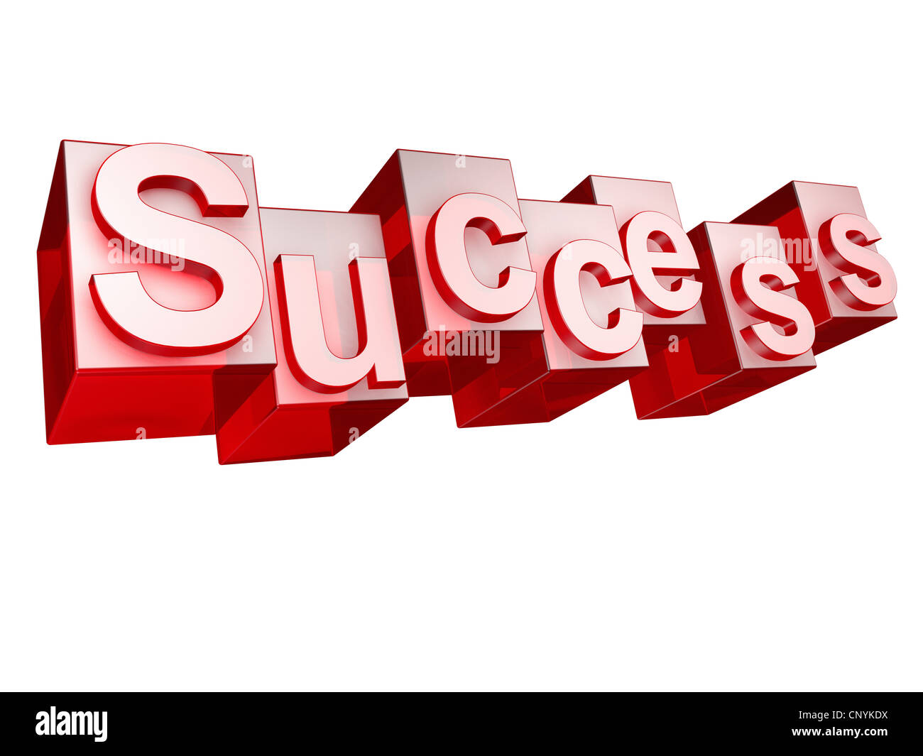 The word 'Success' in 3D letters on white background - Stock Image
