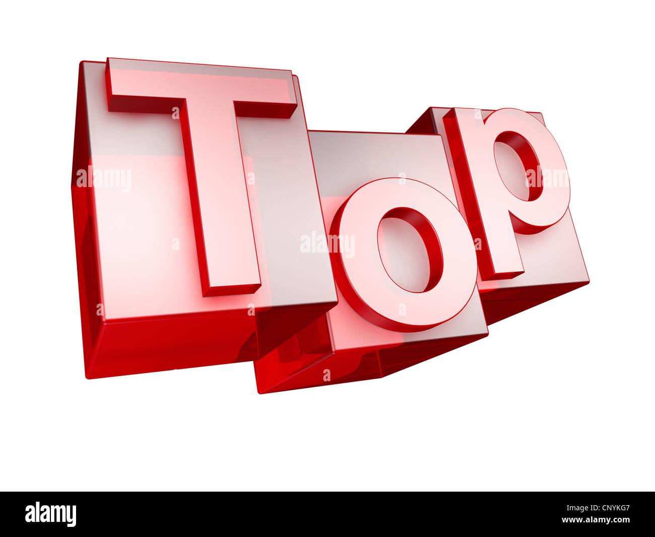 The word TOP in 3D Letters on white background - Das Wort TOP aus 3D Buchstaben gesetzt, freigestellt auf weißem - Stock Image