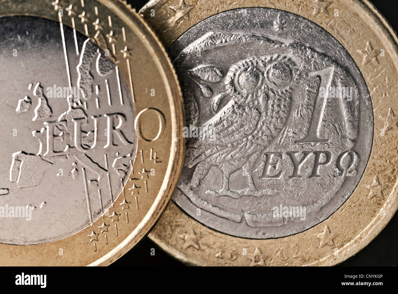 Front and back of a Greek € coin in close up. - Stock Image