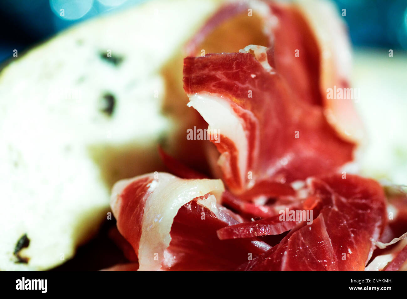 iberian, food, pig, serrano, meat, gastronomy, delicatessen, dehesa, cured, spain, jabugo, mediterranean, iberico, - Stock Image