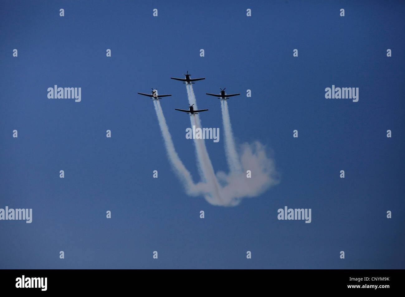 Beechcraft T-6A Texan II single-engine turboprop air crafts of the Israeli Air Force aerobatic team flying in formation - Stock Image