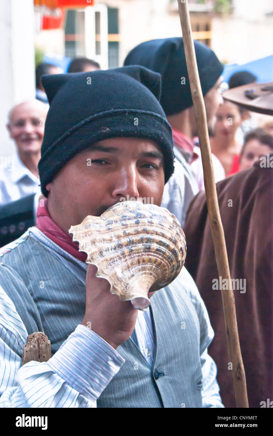 """Portuguese folk group at the International """"Festival of hazelnuts"""", parade through the streets of the country Stock Photo"""