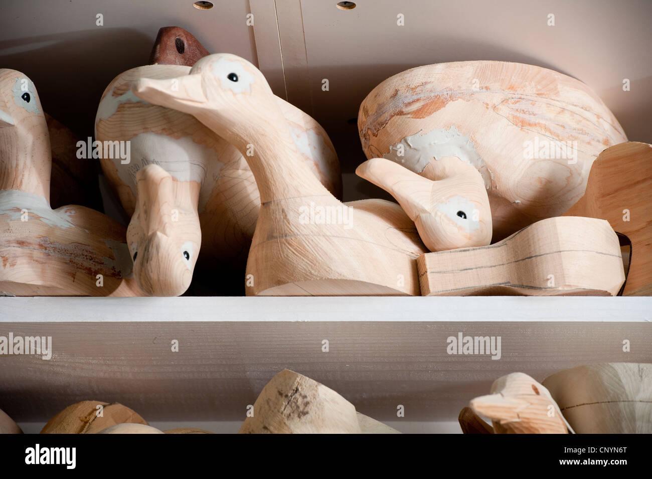 Unpainted Wooden Decoy Ducks On A Shelf Stock Photo 47937872 Alamy