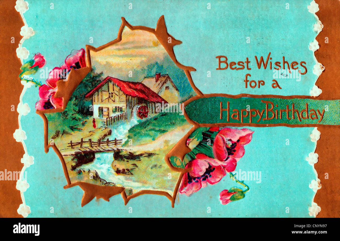 Best Wishes for a Happy Birthday - vintage card Stock Photo - Alamy
