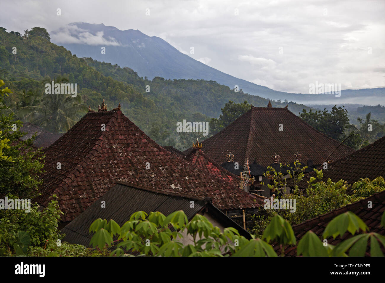 a rural village on the slopes of Gunung Agung, Indonesia, Bali - Stock Image