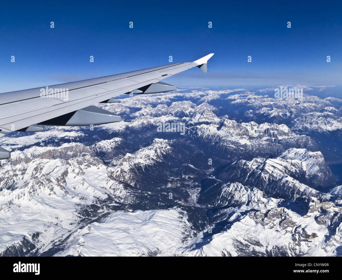 view from airplane to the Alps - Stock Image