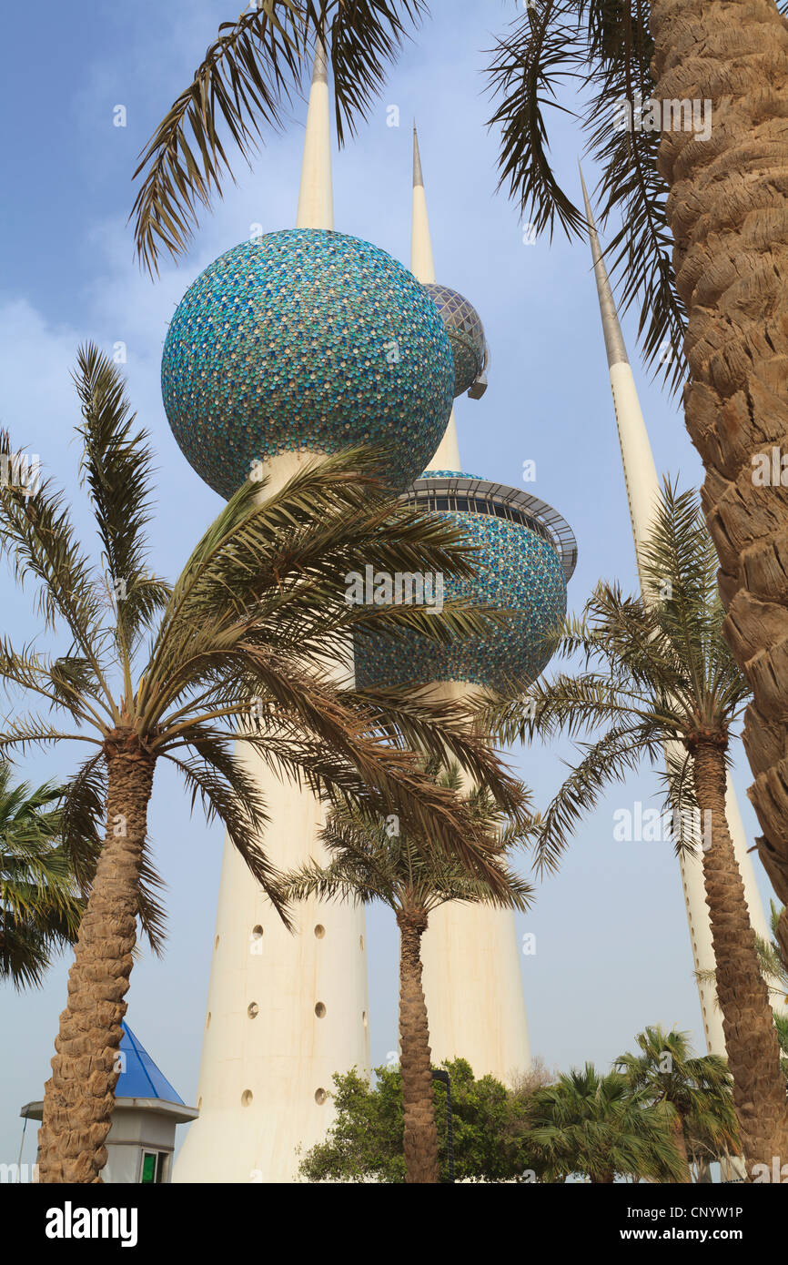 Kuwait City Water Towers are an iconic landmark of the city lying just off the Gulf Road. Stock Photo