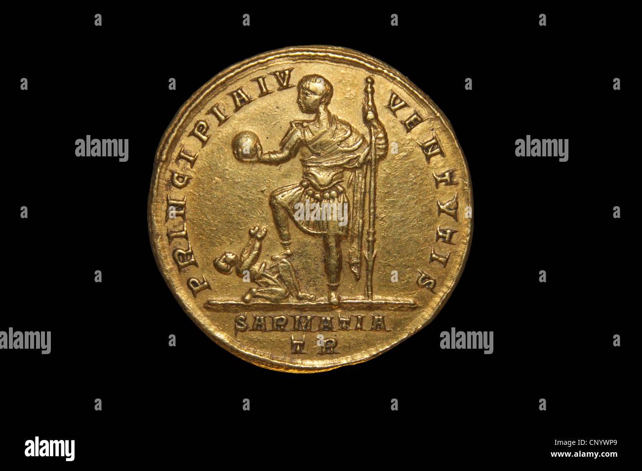 Gold Medallion Of Roman Emperor Constantine II - Stock Image