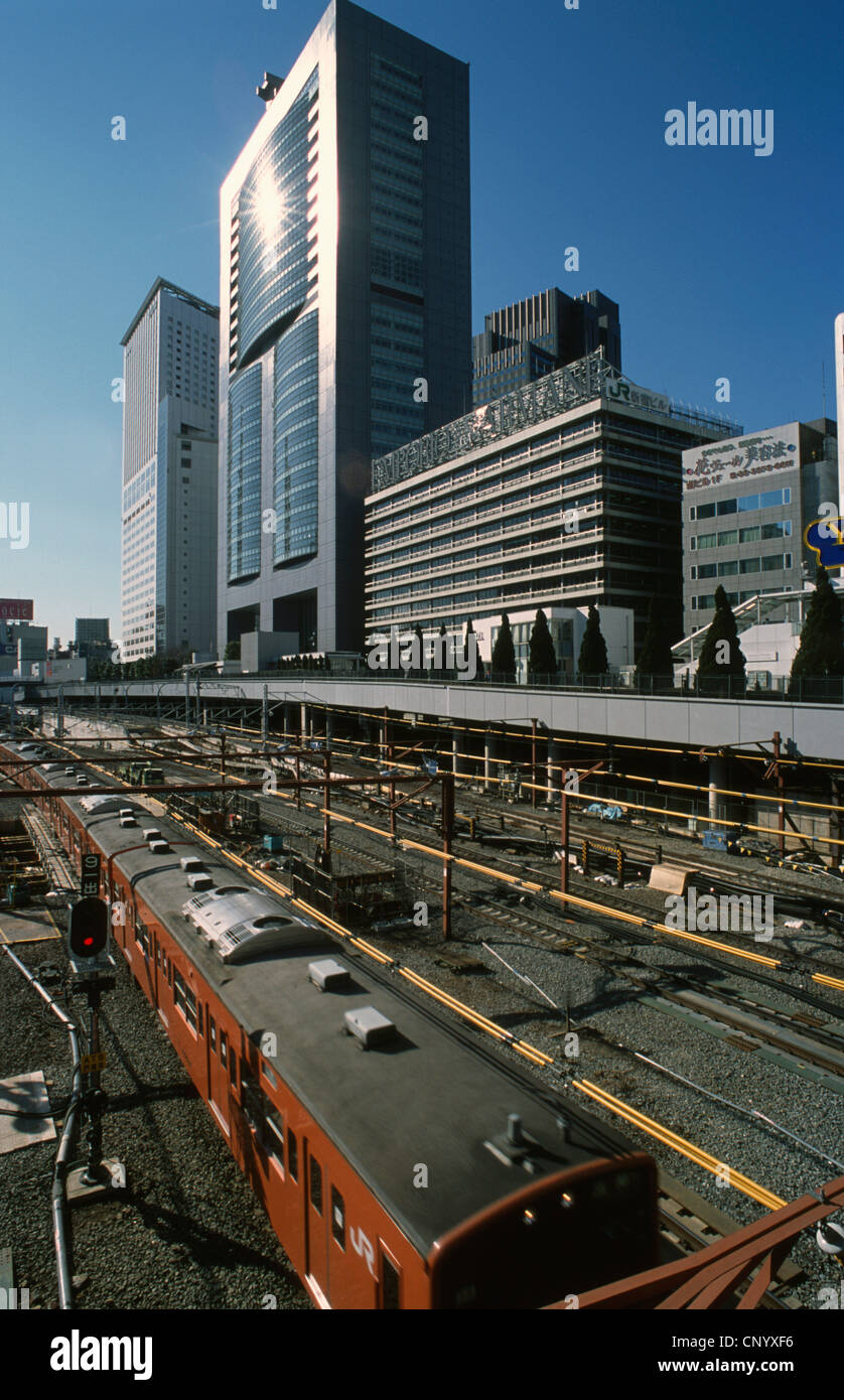 Japan, Tokyo, Shinjuku, skyscrapers, urban train line, - Stock Image