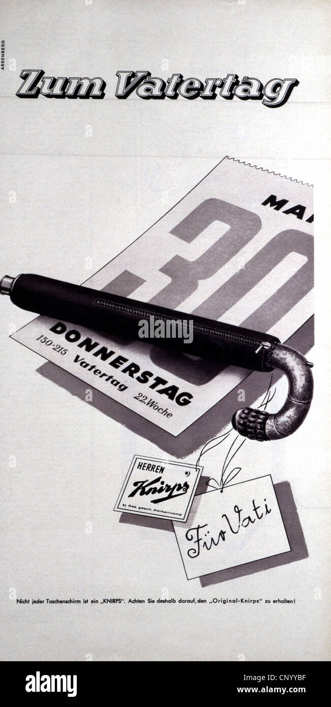 advertising, fashion, accessory, collapsible umbrella, advertisement, 1957, Additional-Rights-Clearences-NA - Stock Image